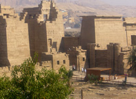 Habu House - The view over the  Medinet  Habu Temple